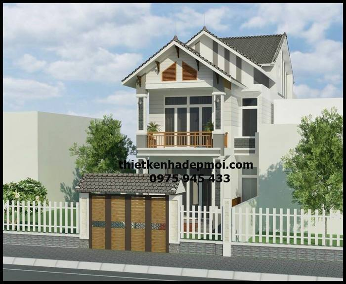 Mẫu nhà phố hiện đại gam màu tone trắng đẹp 2 tầng mặt tiền 6m