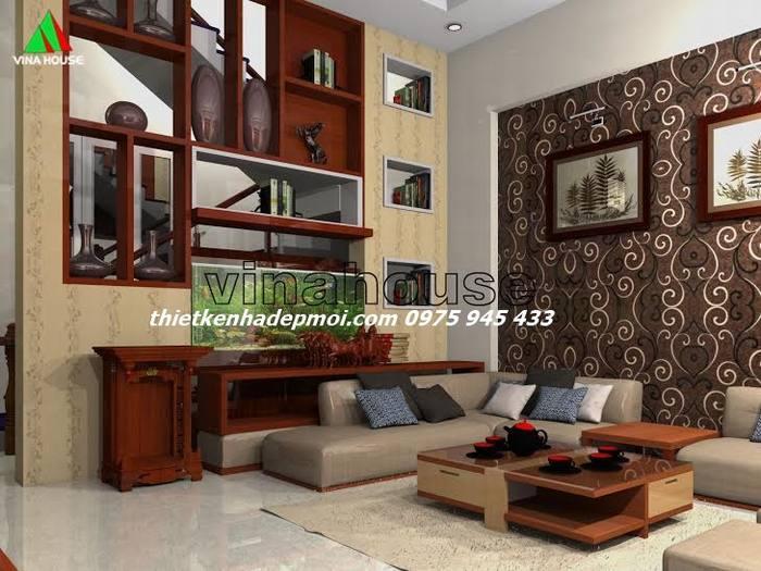 Phòng khách mẫu nhà ống 2 tầng đơn giản