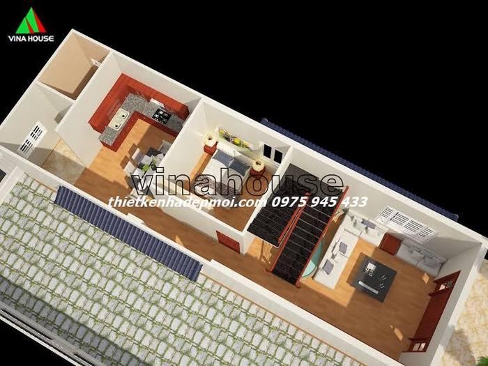 Tầng 1 mẫu thiết kế nhà phố 2 tầng đẹp