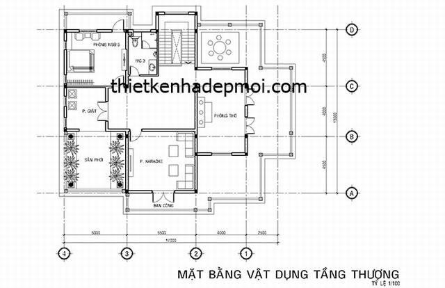 mat bang 03 biet thu 3 tang tan co dien phap dep
