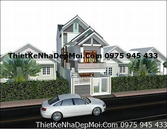 Mẫu thiết kế nhà phố đêp 3 tầng 5x18 mái thái đẹp