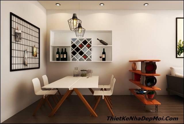 Không gian trang trí bàn ăn nhà chung cư 56m2