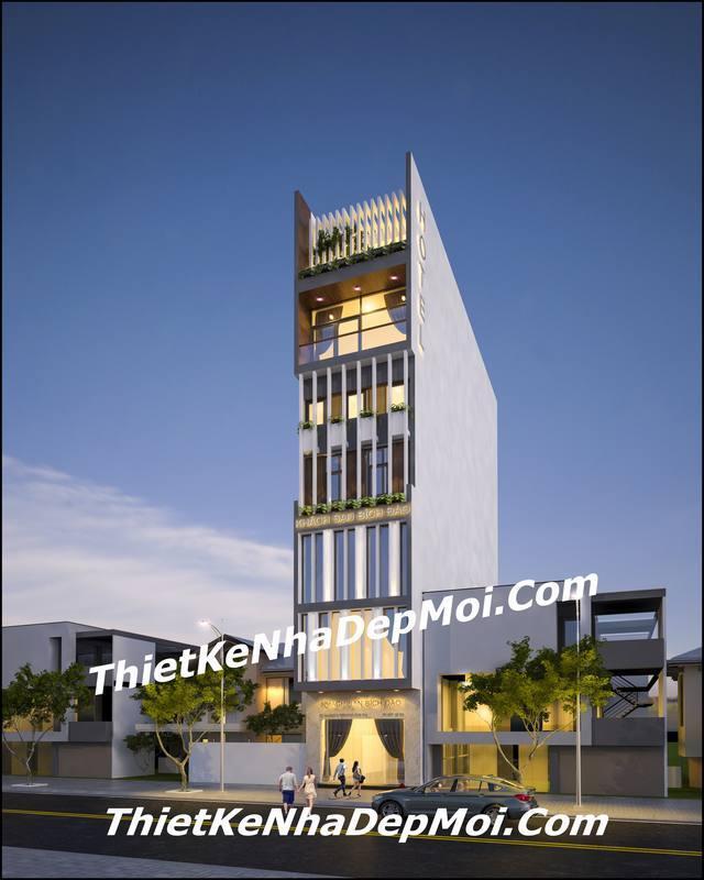 Thiết kế khách sạn mini đẹp 7 tầng hiện đại 5×20 Vũng Tàu