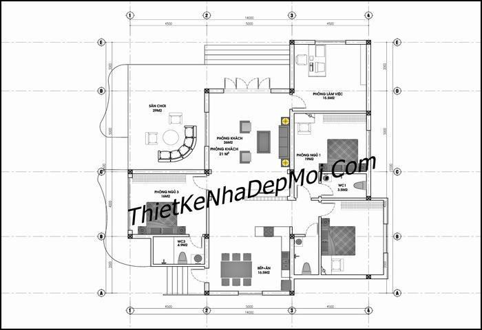 Mặt bằng nhà cấp 4 3 phòng ngủ ở nông thôn