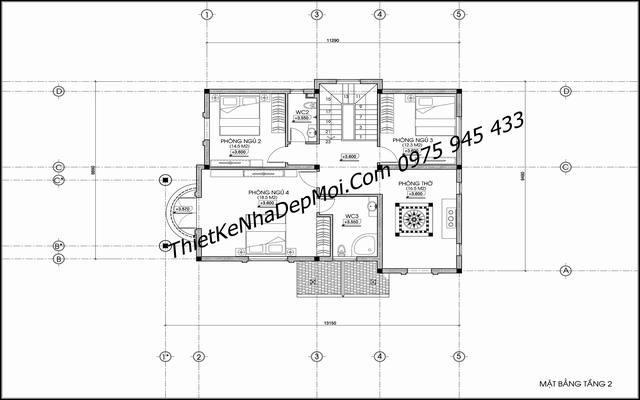 Bản vẽ mặt bằng tầng lầu mẫu nhà mái thái 2 tầng