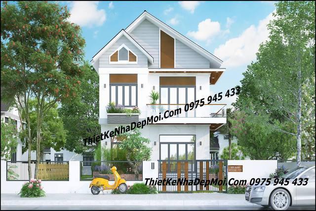 Hình ảnh mô hình nhà ở 2 tầng mái nhà
