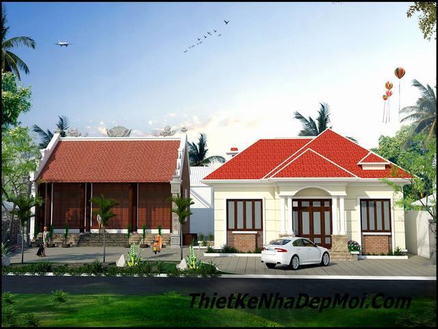 Bản vẽ thiết kế nhà thờ họ kết hợp với nhà ở 5 phòng ngủ anh Bình Phú Thọ