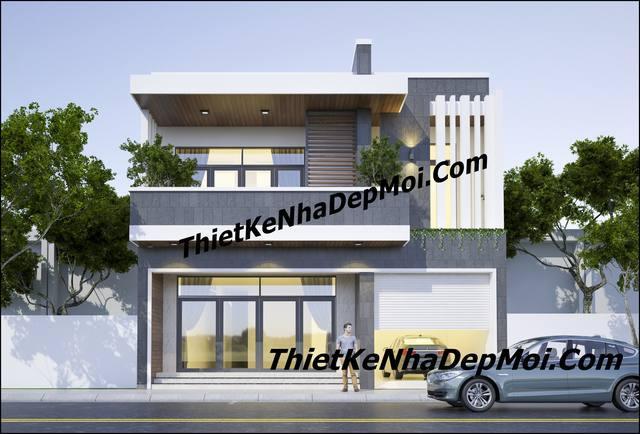 Mẫu thiết kế nhà mái bằng đẹp 1 trệt 1 lầu hiện đại chị Linh Nhơn Trạch