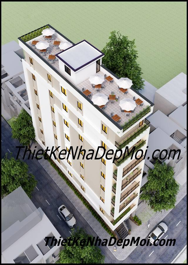 mẫu thiết kế nhà nghỉ 8 tầng hiện đại mini