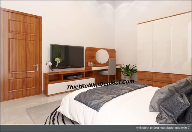 Góc nhìn một bên nội thất phòng ngủ master đơn giản