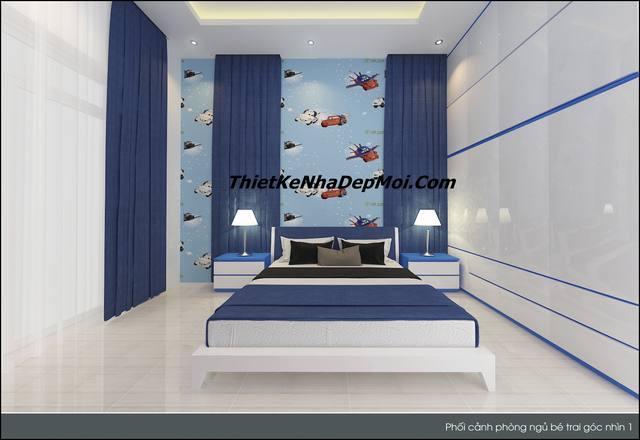 Mẫu thiết kế phòng ngủ con trai anh Danh đơn giản hiện đại với nội thất giá rẻ đẹp