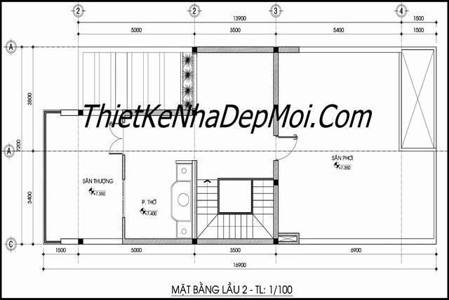 Mặt bằng tầng 3 mẫu nhà phố hiện đại 8x20m anh HÀ