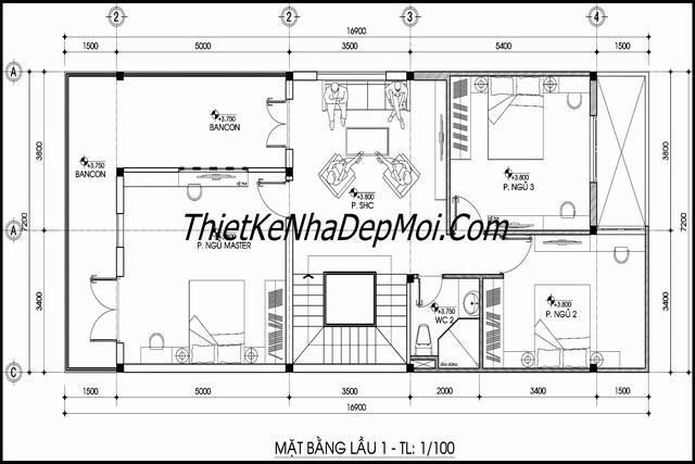 Mặt bằng không gian nhà phố hiện đại 3 tầng rộng 8x20m