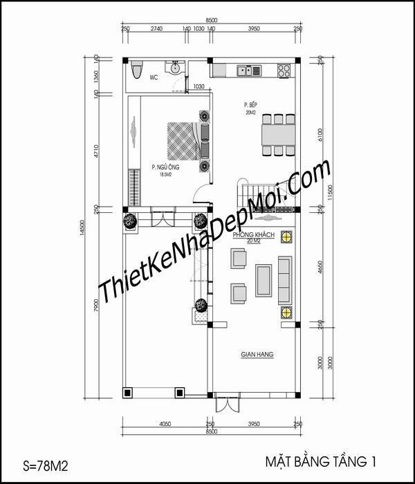 không gian nội thất nhà mái thái 3 tầng 9x15 chữ L