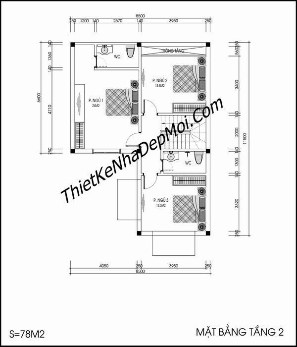 Bản vẽ thiết kế nhà ngang 9m
