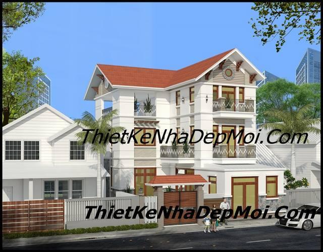 Hình ảnh nhà 3 tầng mái thái 9x15
