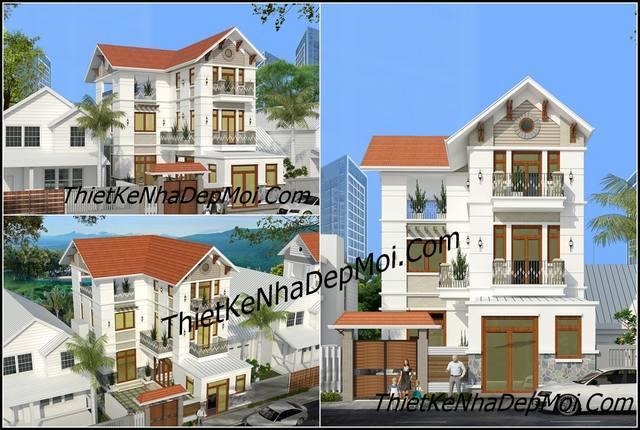 Mẫu thiết kế biệt thự hiện đại 3 tầng mái thái đơn giản