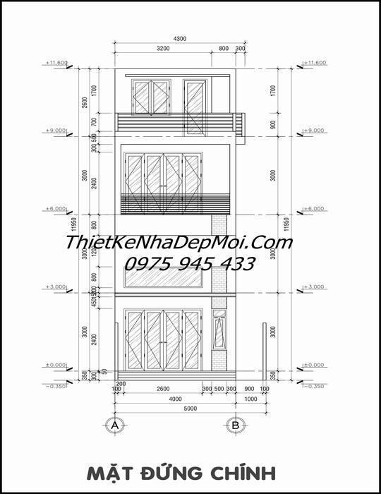 Bản vẽ nhà ống 3 tầng 4x16m trục đứng