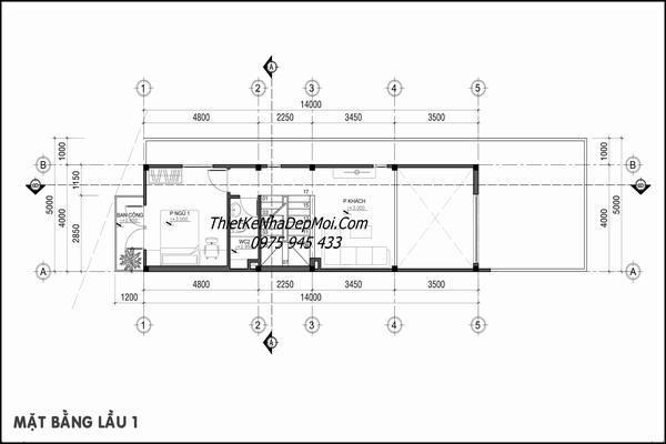Mặt bằng tầng lửng nhà lệch tầng 4x16m