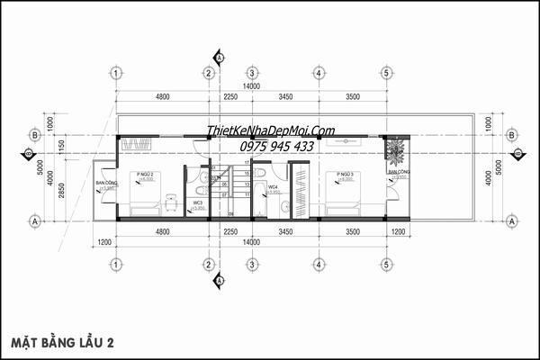 Mặt bằng tầng 3 nhà phố 4x16m