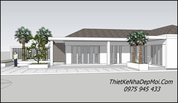 Nhà mái thái hình chữ l 1 tầng